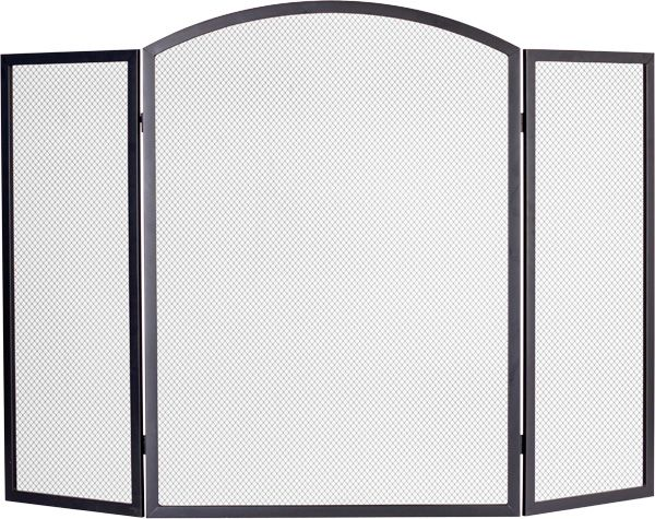 Arched 3 Fold Black Fire Guard