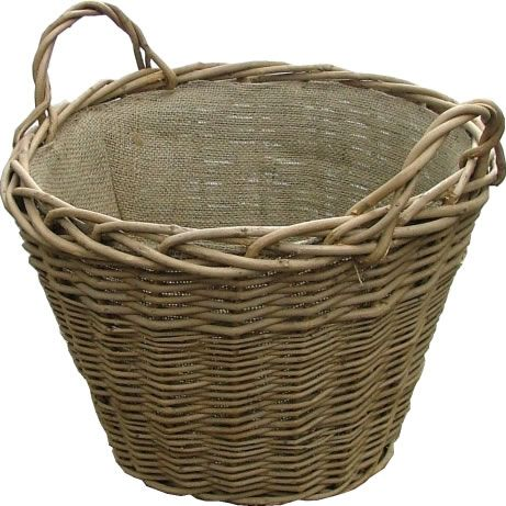 Wild Willow Log Basket with Hessian Lining